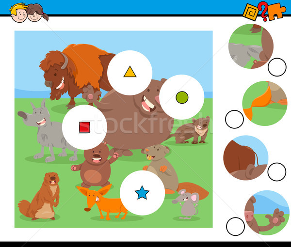 match pieces puzzle with funny wild mammals Stock photo © izakowski