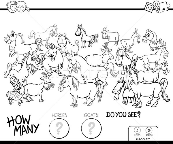 counting horses and goats game color book Stock photo © izakowski