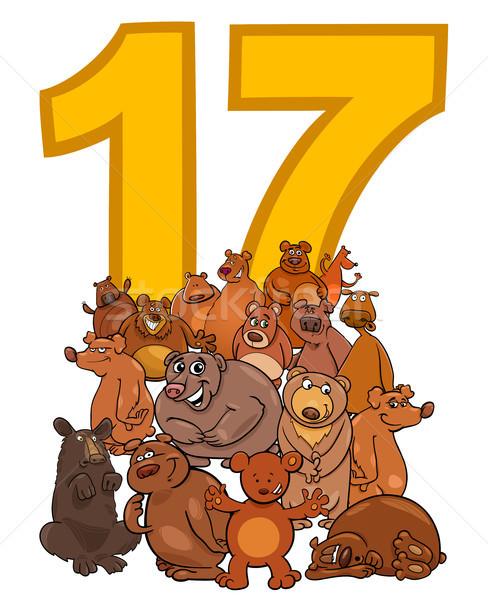 Número dezessete desenho animado grupo ilustração Foto stock © izakowski
