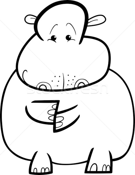 Hippo or Hippopotamus for coloring book Stock photo © izakowski