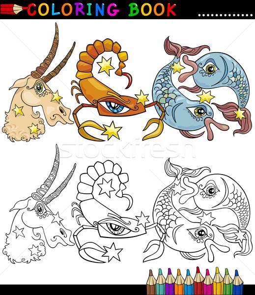 фантазий животные книжка-раскраска страница Cartoon Сток-фото © izakowski