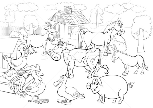 farm animals cartoon for coloring book vector illustration