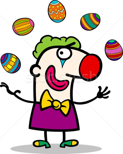 cartoon clown juggling easter eggs Stock photo © izakowski
