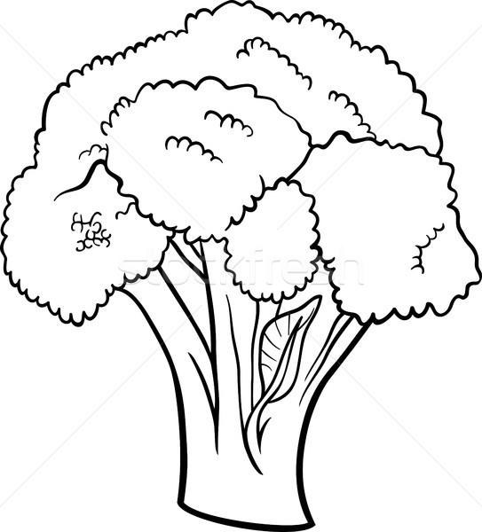 Brokoli Sebze Karikatür Boyama Kitabı Siyah Beyaz