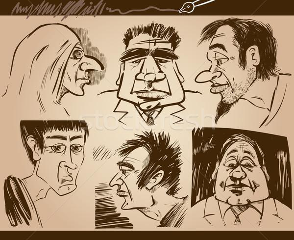people faces cartoon sketch drawings set Stock photo © izakowski