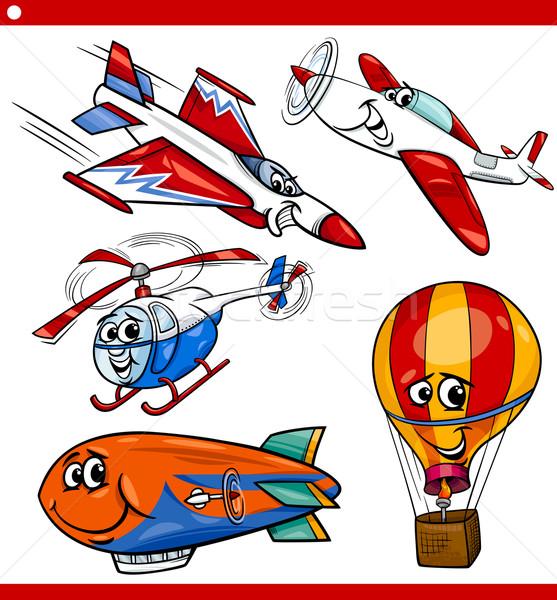 Stockfoto: Grappig · cartoon · vliegtuigen · voertuigen · ingesteld · illustratie