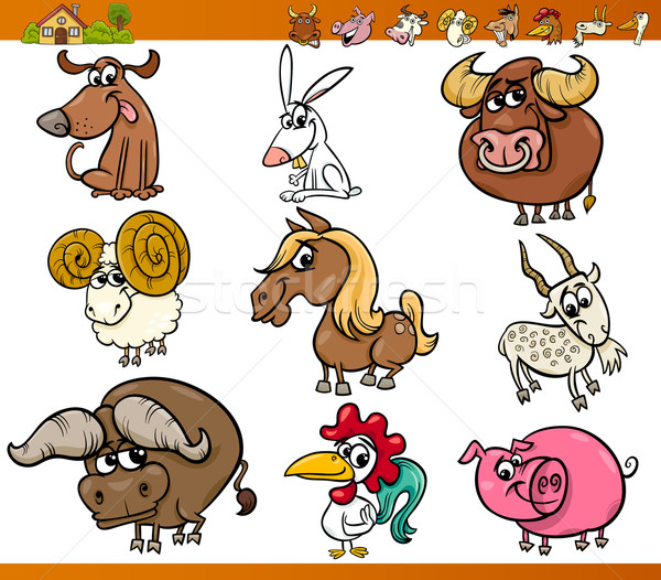 farm animals set cartoon illustration Stock photo © izakowski
