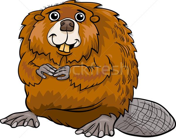 бобр животного Cartoon иллюстрация Cute счастливым Сток-фото © izakowski