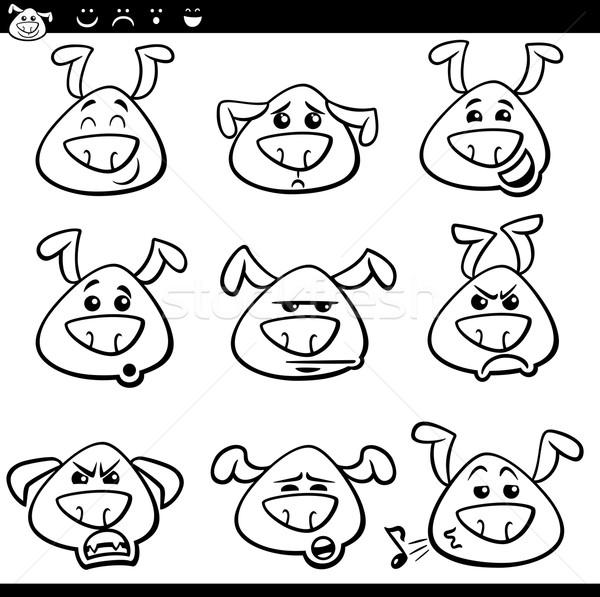 dog emoticons cartoon coloring page Stock photo © izakowski