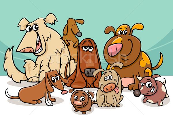 funny dogs group cartoon Stock photo © izakowski