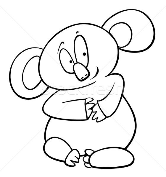 Koala Cartoon página blanco negro ilustración funny Foto stock © izakowski