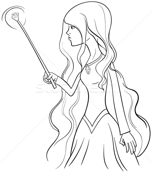 Stockfoto: Heks · karakter · pagina · zwart · wit · cartoon · illustratie