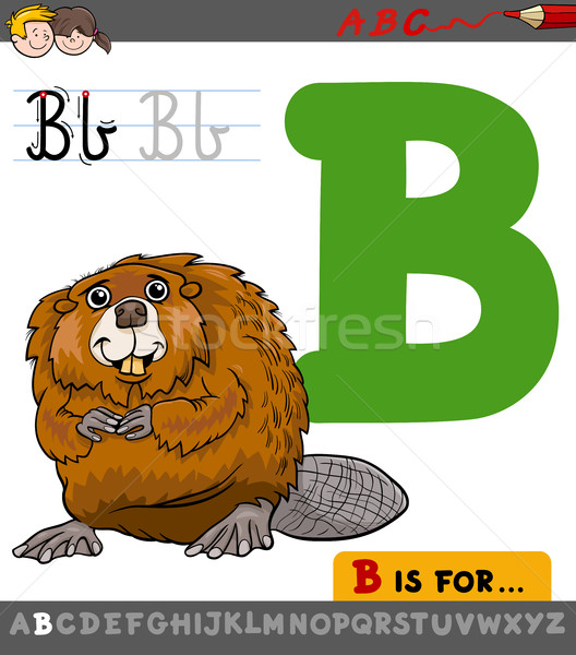 letter b with cartoon beaver Stock photo © izakowski