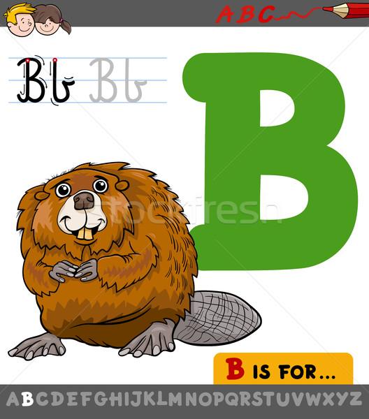письме Cartoon бобр образовательный иллюстрация алфавит Сток-фото © izakowski