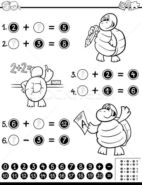 Foto d'archivio: Matematico · libro · da · colorare · bianco · nero · cartoon · illustrazione · educativo