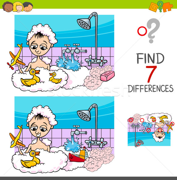 differences game with boy playing in bath Stock photo © izakowski