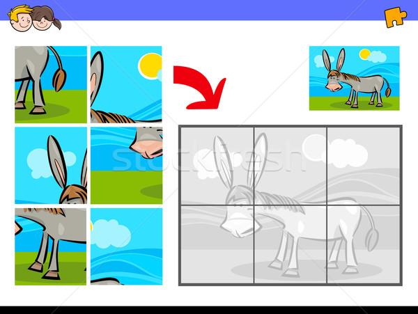 jigsaw puzzles with donkey farm animal Stock photo © izakowski