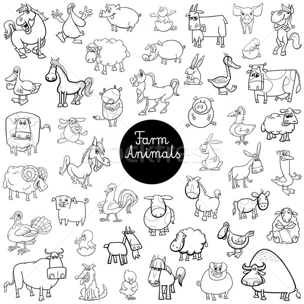Stock photo: farm animal characters set color book