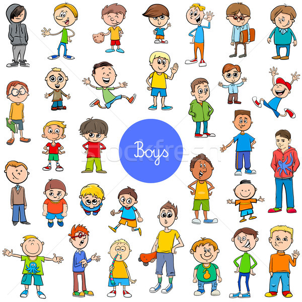 cartoon kid boys characters big set Stock photo © izakowski