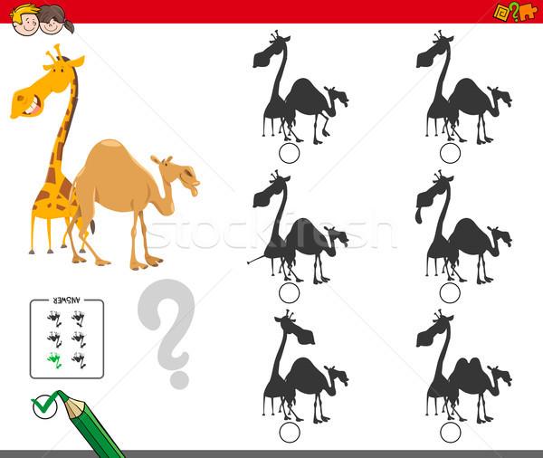 Oscuridad actividad juego jirafa camello Cartoon Foto stock © izakowski