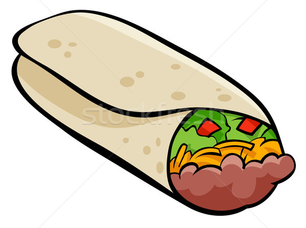Mexican burrito tortilla cartoon illustration Stock photo © izakowski