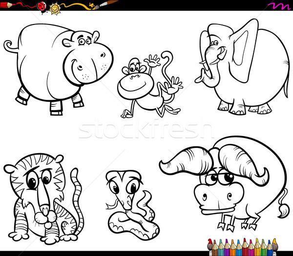 set of animal characters coloring book Stock photo © izakowski