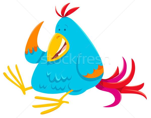 funny colorful bird cartoon animal character Stock photo © izakowski