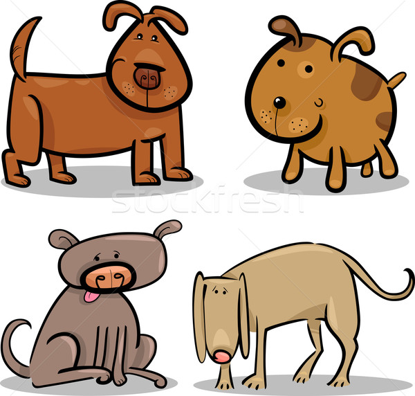 cute cartoon dogs or puppies set Stock photo © izakowski