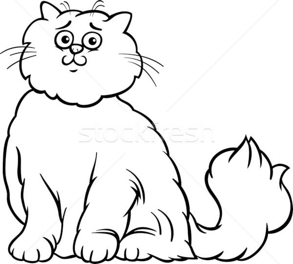 Perzische kat cartoon pagina zwart wit illustratie cute Stockfoto © izakowski
