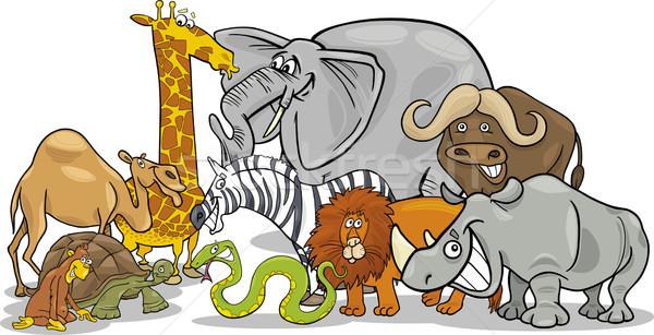 african safari wild animals cartoon illustration Stock photo © izakowski