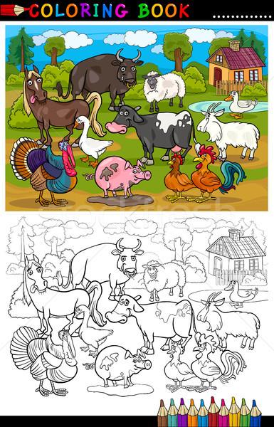 Cartoon Farm and Livestock Animals for Coloring Stock photo © izakowski