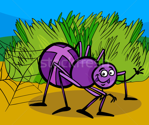cross spider insect cartoon illustration Stock photo © izakowski