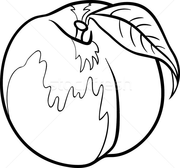 şeftali örnek Boyama Kitabı Siyah Beyaz Karikatür