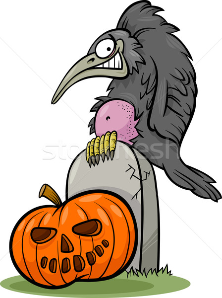 halloween pumpkin with crow cartoon Stock photo © izakowski
