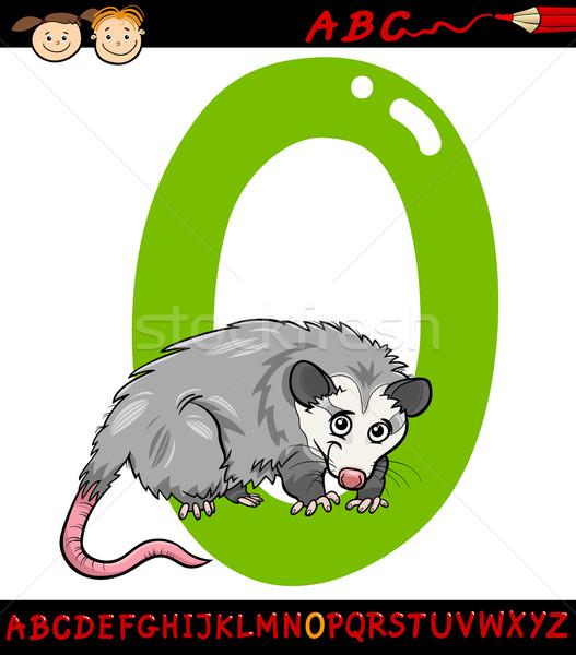 O betű rajz illusztráció nagybetű ábécé állat Stock fotó © izakowski
