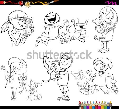 Gezegden ingesteld cartoon pagina kleurboek illustratie Stockfoto © izakowski