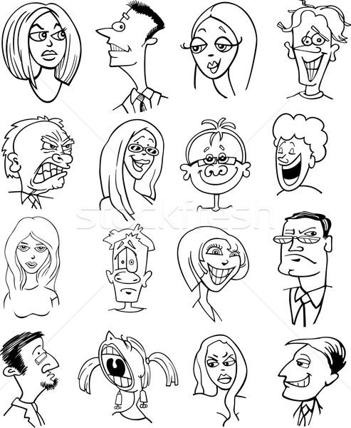 Stock fotó: Rajzolt · emberek · betűk · arcok · feketefehér · rajz · illusztráció