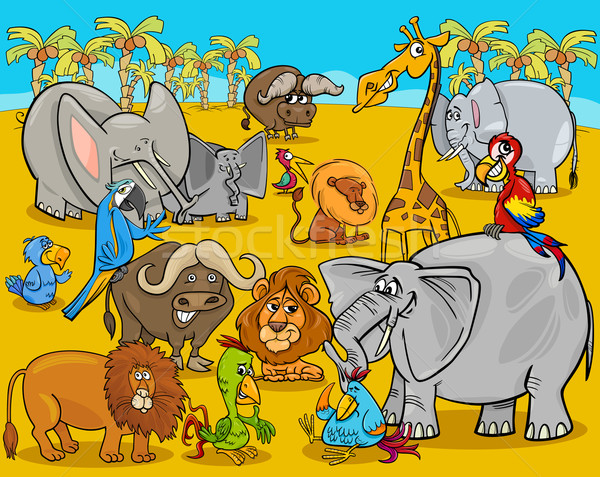 Animaux de safari cartoon illustration scène africaine Photo stock © izakowski