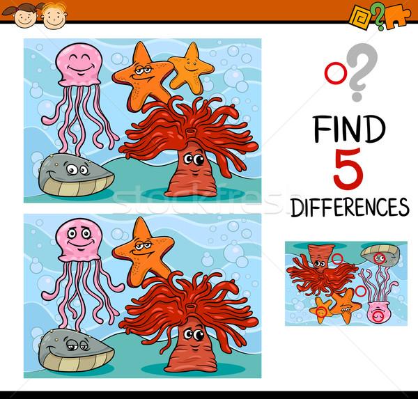 Spel verschillen illustratie cartoon bevinding onderwijs Stockfoto © izakowski