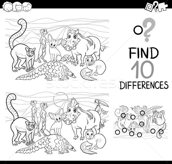 Verschil activiteit dieren zwart wit cartoon illustratie Stockfoto © izakowski
