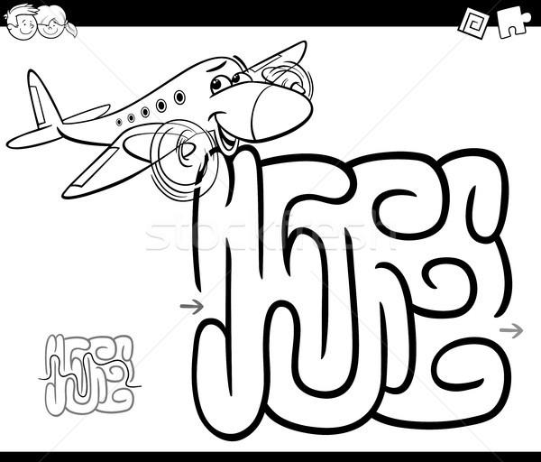 Laberinto avión página blanco negro Cartoon ilustración Foto stock © izakowski