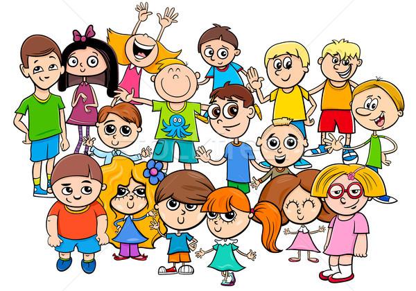children characters group cartoon illustration Stock photo © izakowski
