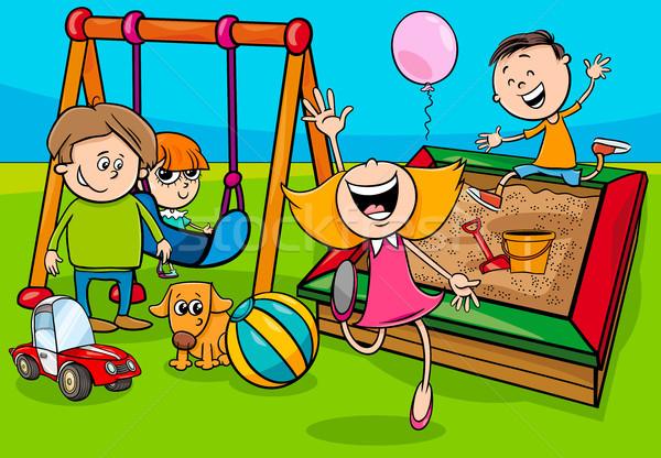 cartoon children characters on playground Stock photo © izakowski