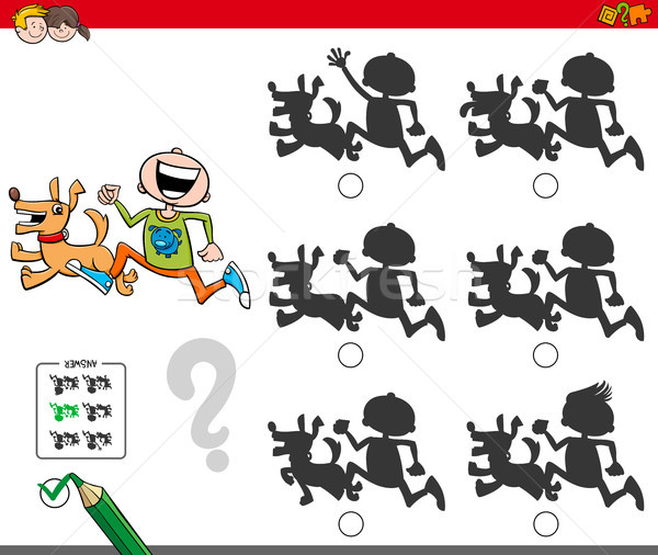 Pädagogisch Schatten Spiel Junge Hund Karikatur Stock foto © izakowski