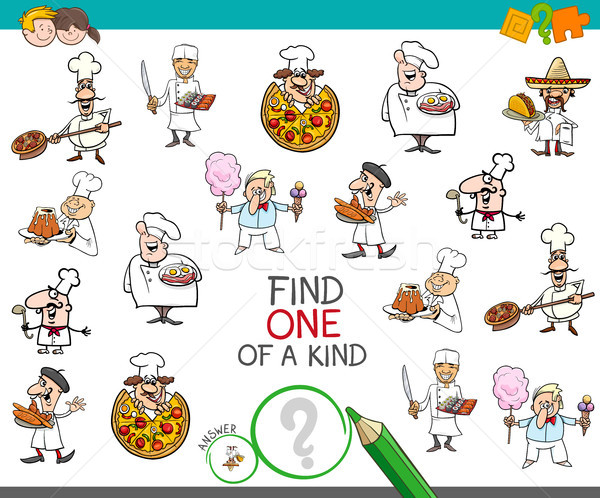 find one of a kind game with chef characters Stock photo © izakowski