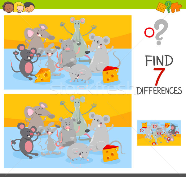 find differences game with mice animal characters Stock photo © izakowski