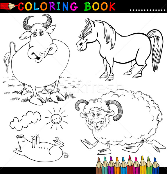 Farm Animals for Coloring Book or Page Stock photo © izakowski