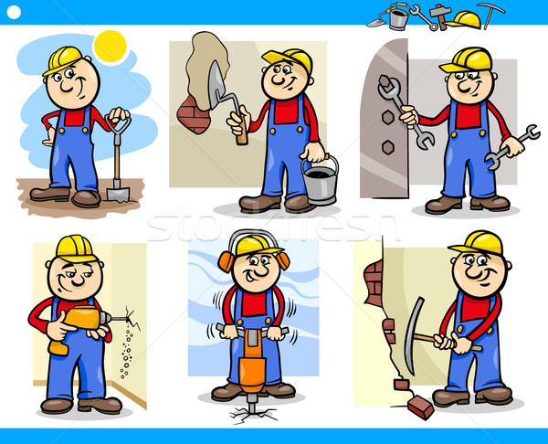 manual workers or workmen characters set Stock photo © izakowski