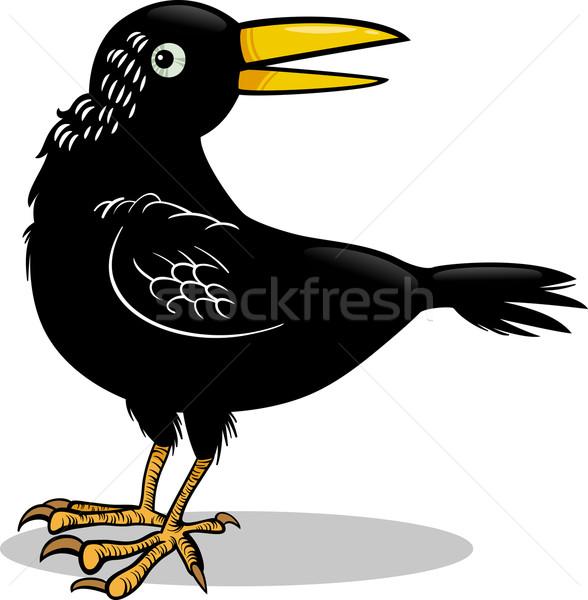 crow or raven bird cartoon illustration Stock photo © izakowski