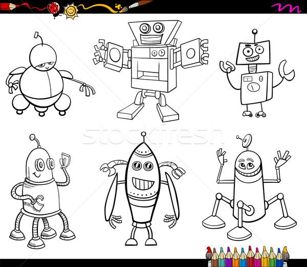 Robot Boyama Kitabı Siyah Beyaz Karikatür örnek Vektör
